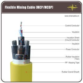 Coal Mining Flexible Rubber Cable , 1 Ground Core Rubber Sheath Cable