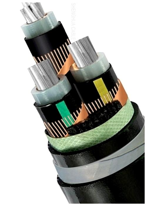 High Voltage Shielded Cable : High voltage armoured electrical cable three core xlpe