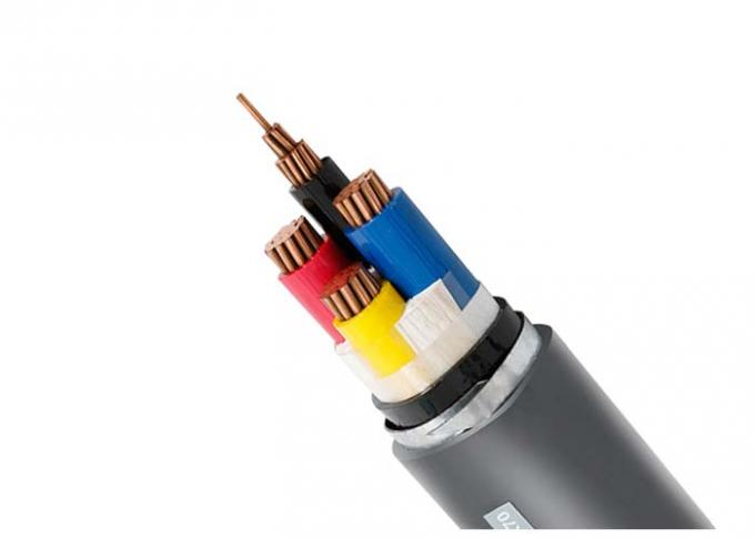 Black PVC Insulated Cables 4+1 Core Steel Tape Armoured VV22 Electrical STA Power Cable